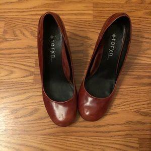 Taryn Rose Brown Leather Round Toe Heels